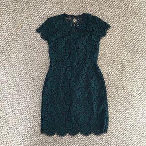 Banana Republic factory green / navy lace dress